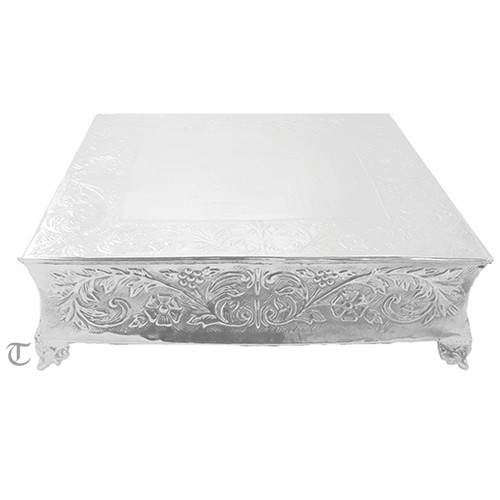 "14"" Square Cake Stand, Floral Design"