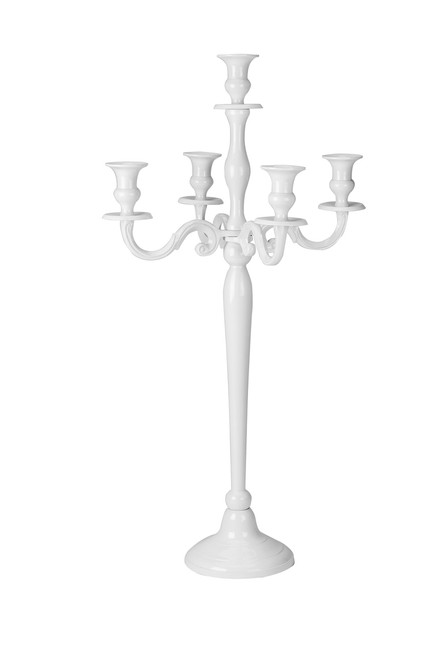 "31"" Tall White Candle Holder, Five Light Design"
