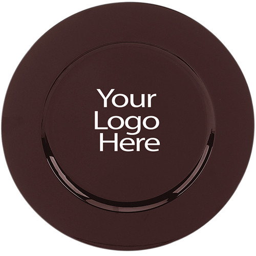Laser Engraved Brown Round Charger, Case of 12