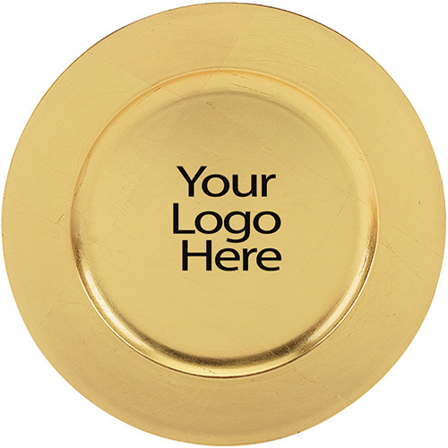 Laser Engraved Gold Round Charger Plate, Case of 12