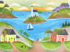LAST SAIL EVENING by OCEAN COTTAGES Folk Art Print