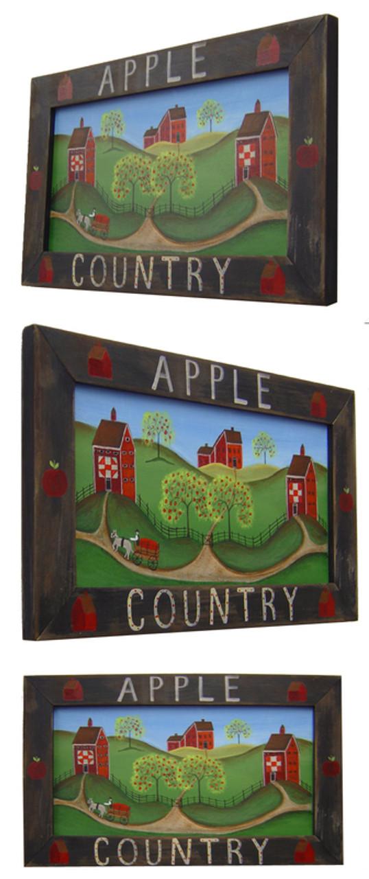 Apple Country Primitive Folk Art Painting Framed - cherylbartleydesigns