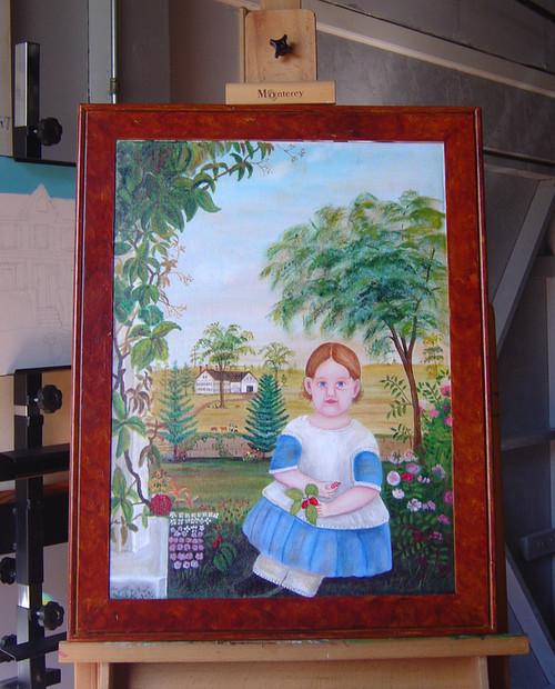 HUGE PRIMITIVE CHILD Arabella Sparrow 1848 FRAMED Original Oil Painting