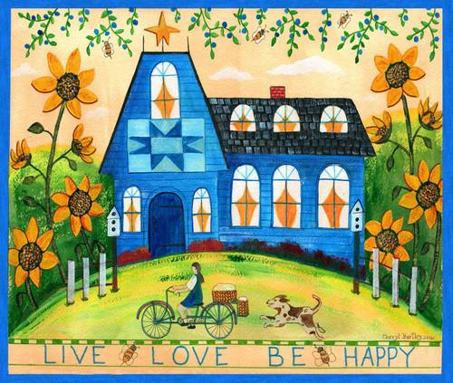 Live Love Be Happy Folk Art Watercolor Original Painting
