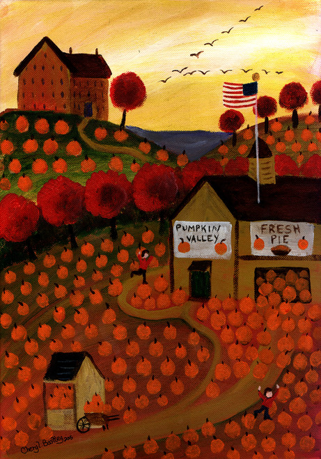 Pumpkin Valley Folk Art Garden House Flag Design 3