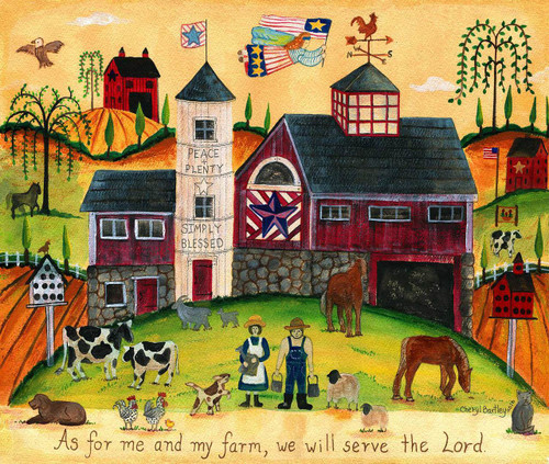 We will serve the Lord Farmyard Angels Americana Print 12x16