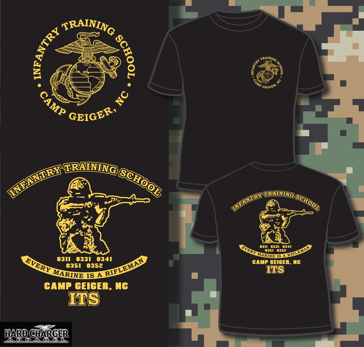 Infantry training school camp geiger nc t shirt hard for Custom military unit t shirts