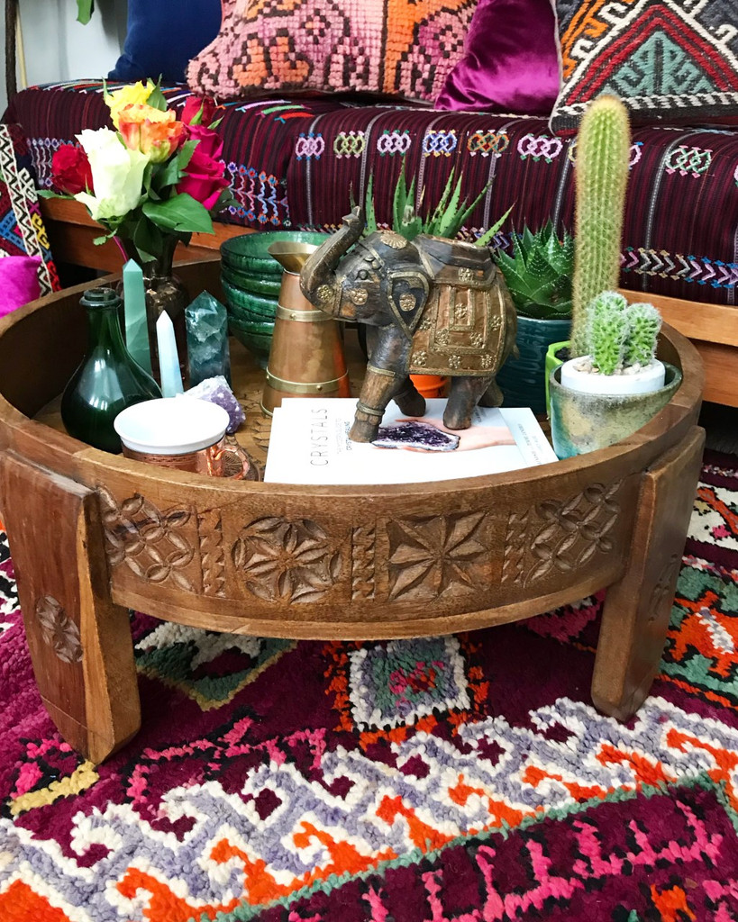 Hand Carved Wooden Chakki Table