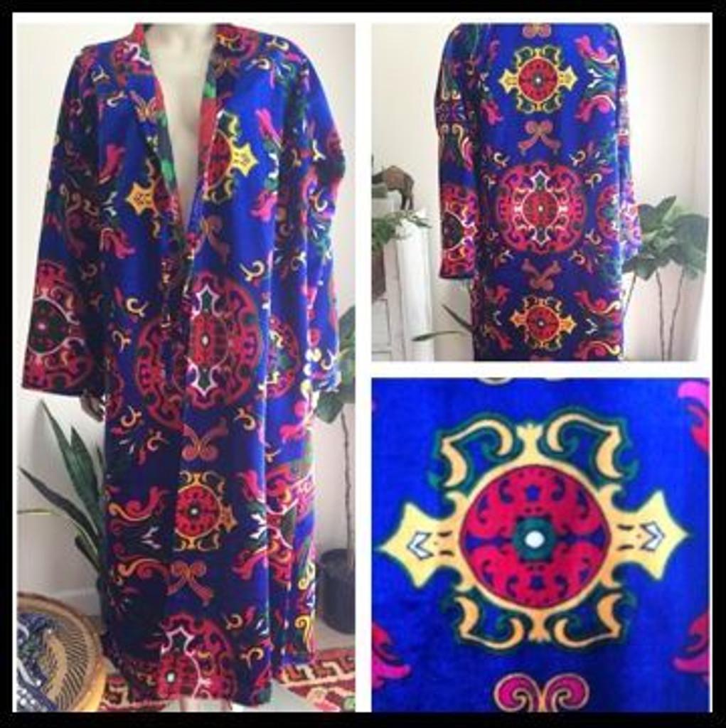 Azure Blue Flocked Velvet Chopan Robe
