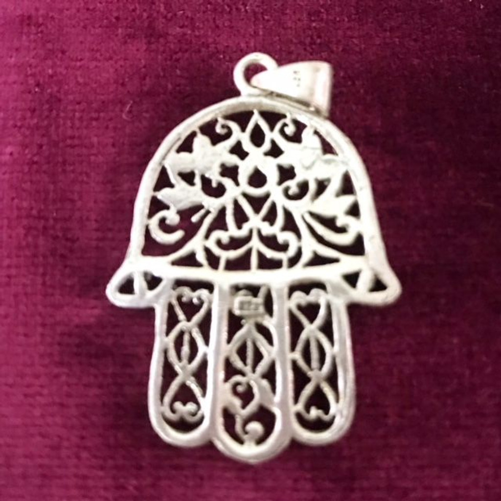 Antique Silver Large Filigree Hamsa Hand