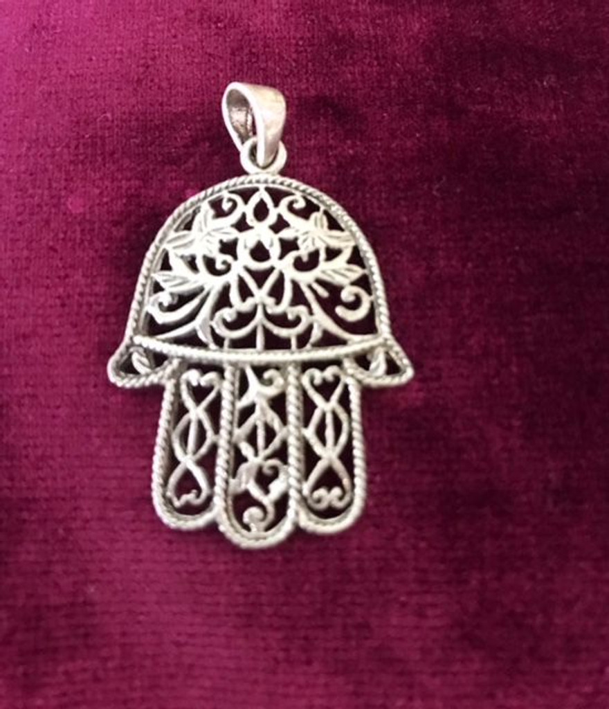 Antique Silver Large Vine Filigree Hamsa Hand