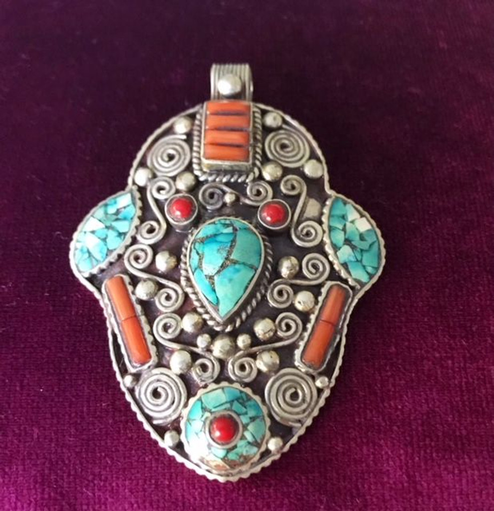 Antique Solid Silver XL Turquoise & Coral Stone Hamsa Hand