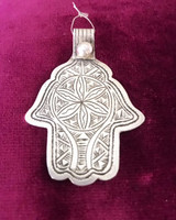 Antique Solid Silver Etched Tribal Hamsa Hand