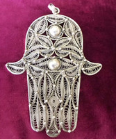 Antique Solid Silver XXL Filigree Hamsa Hand