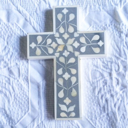 Grey bone inlay cross