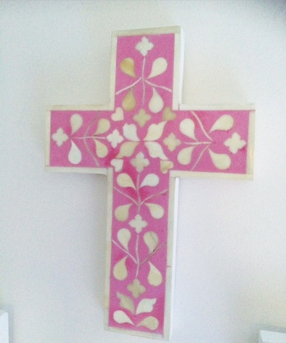 Pink bone inlay cross