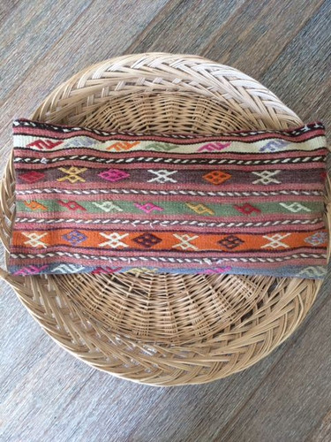 Vintage 'Happiness' Kilim Lumbar Cushion