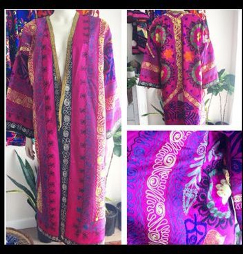 Long Pink Silk on Silk Medallions Suzani Coat