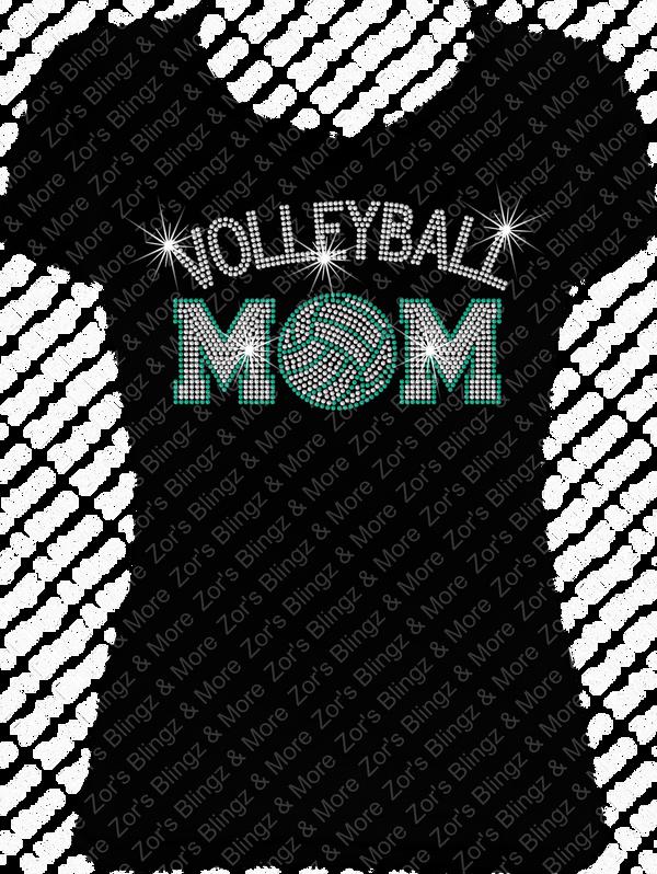 Volleyball Mom Arched Rhinestone T Shirt Design