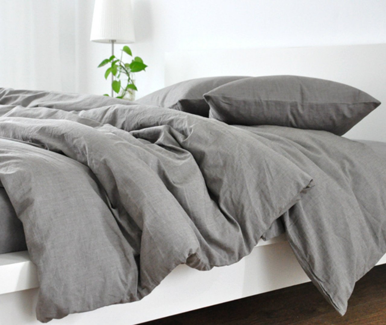 under solid white cover brushed products duvet gray utc percale organic the cotton set canopy