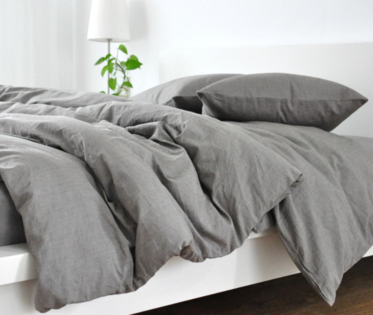 Amazing Medium Grey Linen Duvet Cover