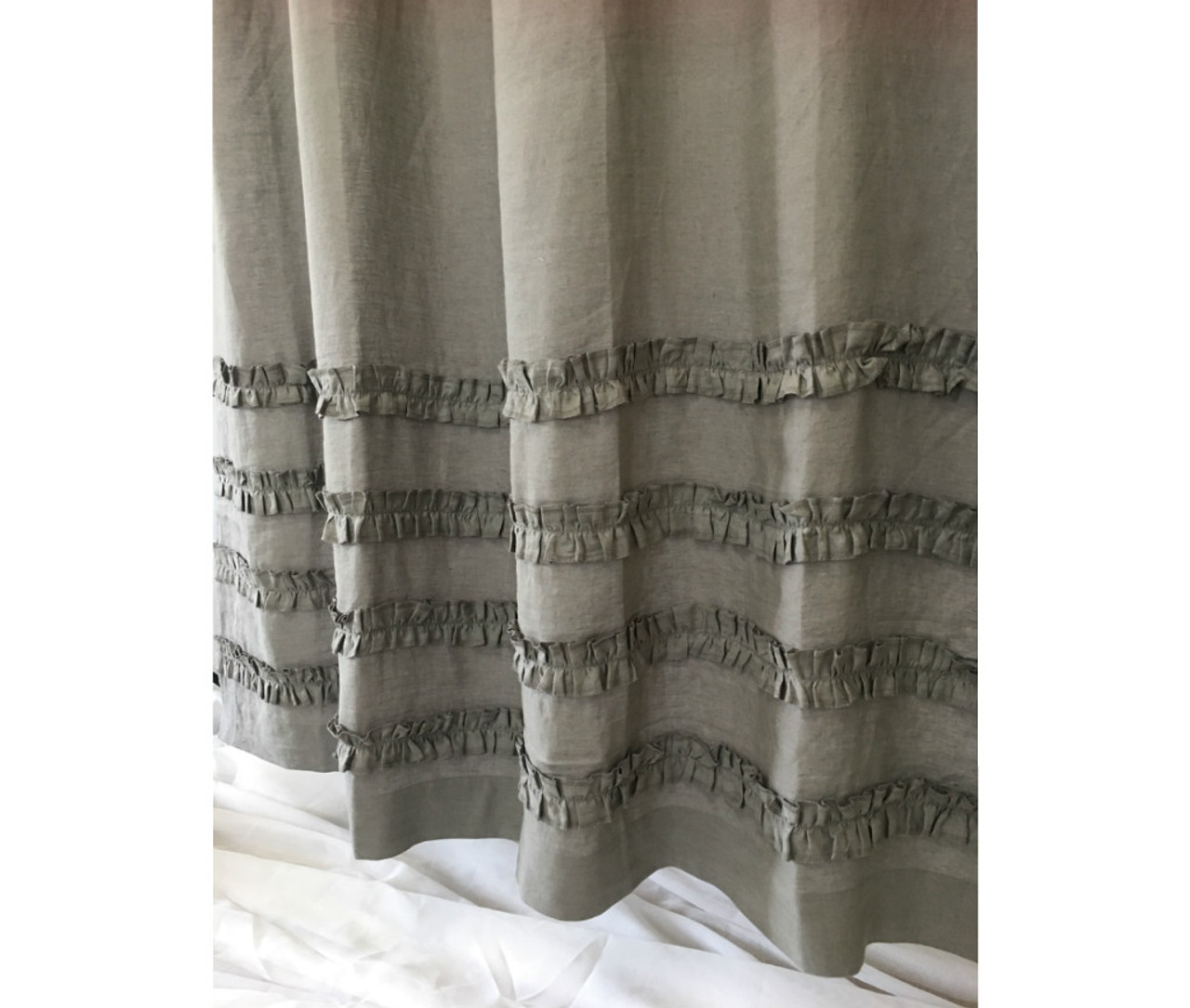 Grey Linen Shower Curtains with 4 Rows of Ruffles, Dress up your Tub!