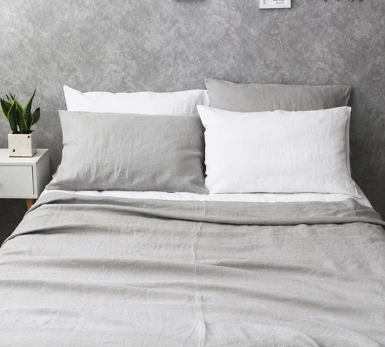 set gray grey duvet cover linen dove