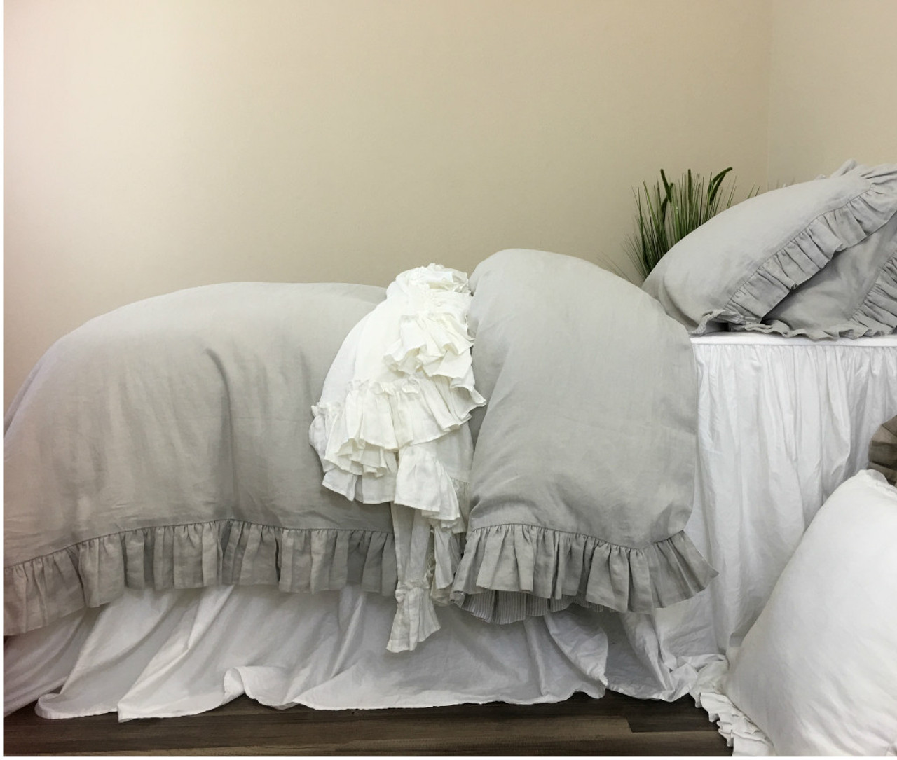 Light Grey Linen Duvet Cover Sweetgalas