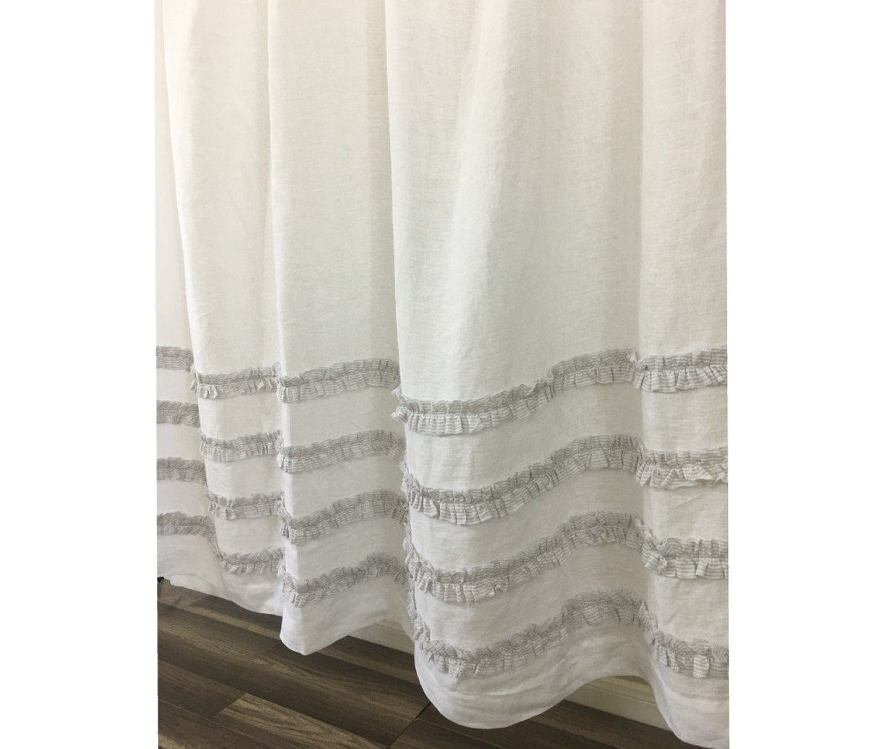 White Shower Curtain With Stone Grey Ticking Stripe Ruffle | Handmade By  SuperiorCustomLinens