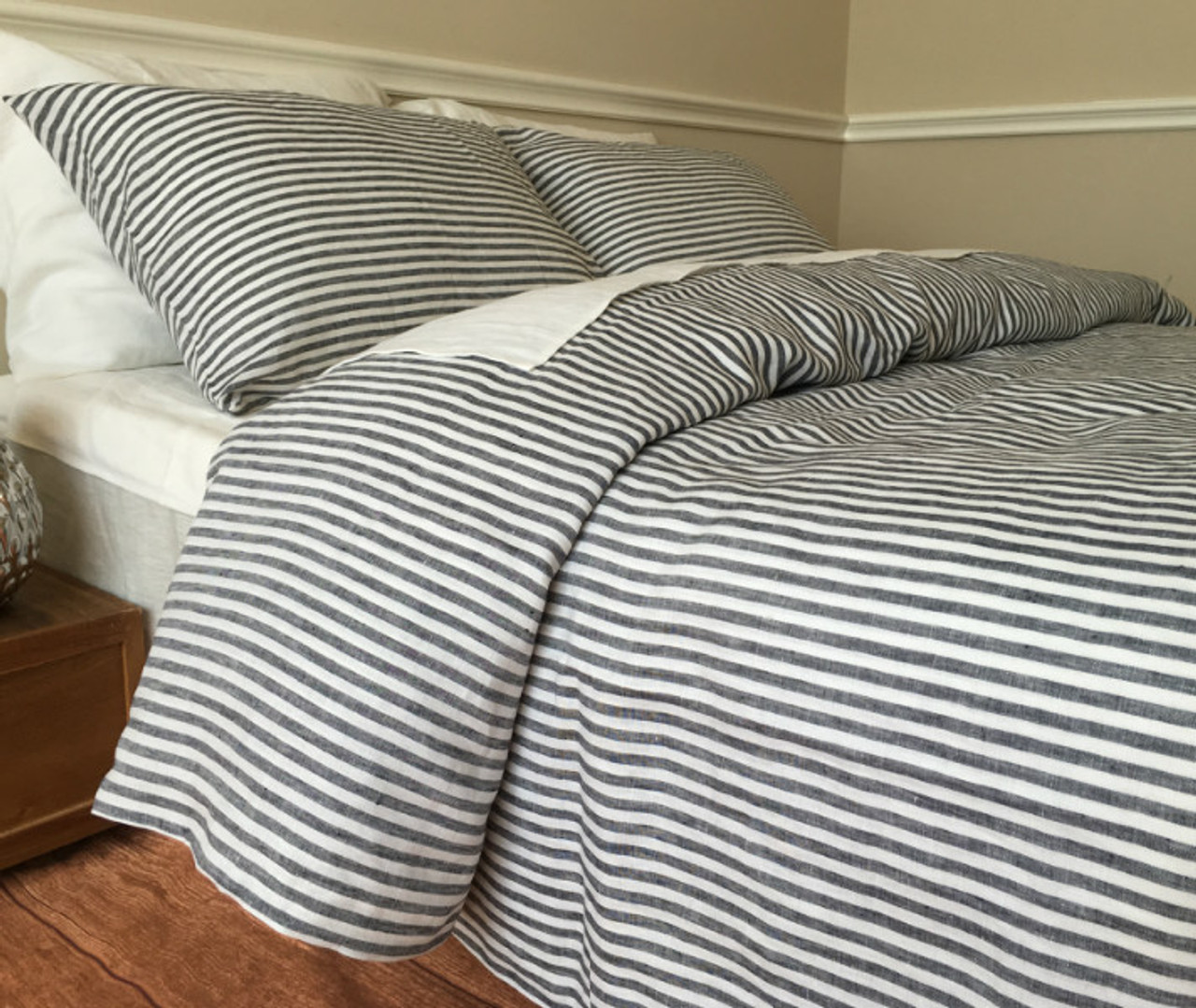 duvet cover natural white nautical stripe striped handmade navy in a linen and