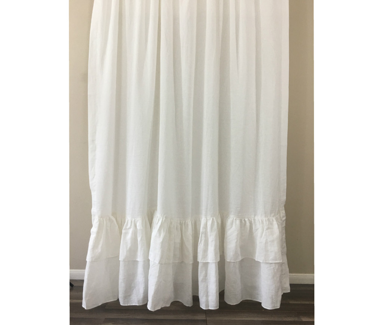 curtains product white shower shipping curtain belgian bedding echelon washed free today linen overstock bath home
