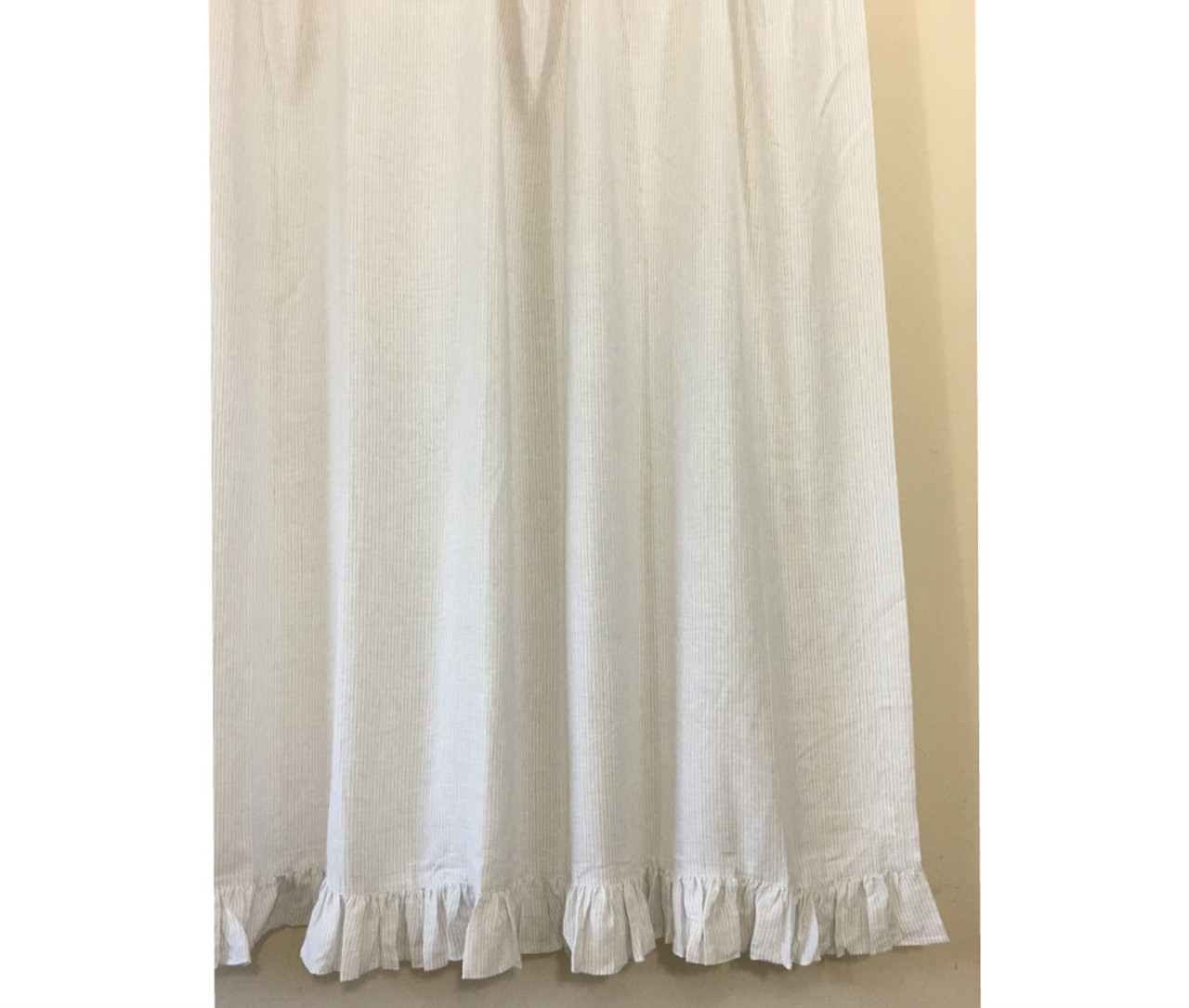 white linen shower curtain. Stone Grey and White Ticking Striped Linen Shower Curtain with Self Ruffles