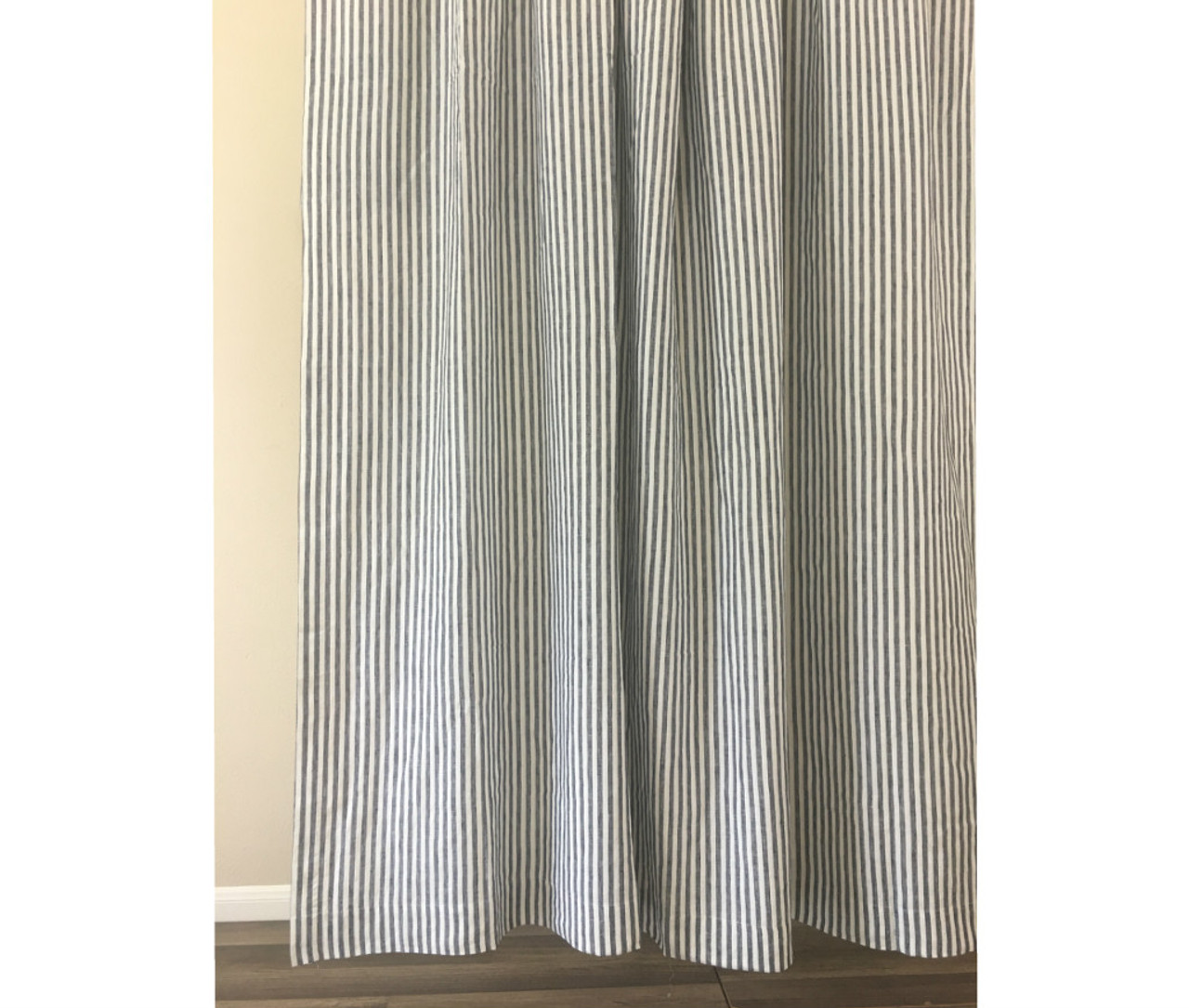 navy and white striped shower curtain | handcrafted