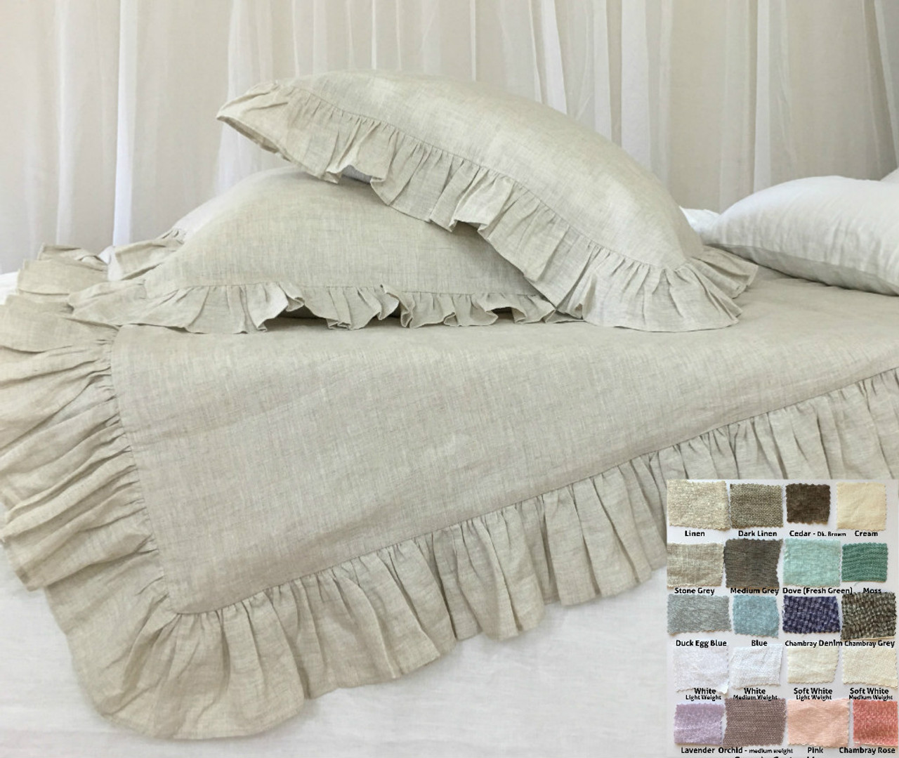 bedding duvet white ruched ruffle ruffled set cover
