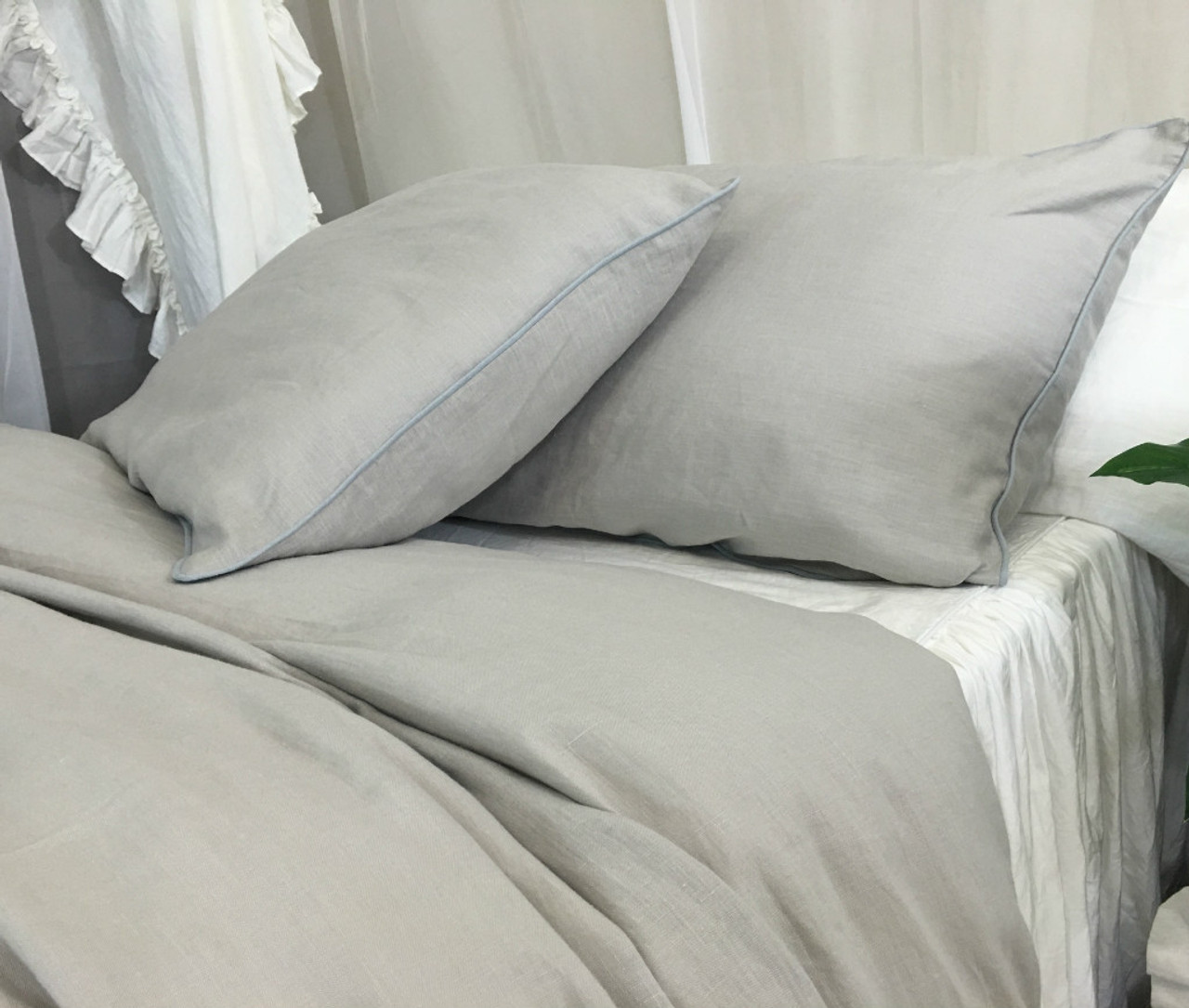 sham italian cover linens linen covers luxury grey large bed sheet duvet shop pure silver
