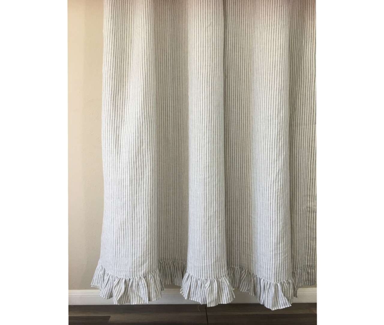 Grey White Striped Shower Curtain. Grey and White Striped Shower Curtain with Ruffle Hem stripe Linen shower curtain features ruffle hem  Mildew Free