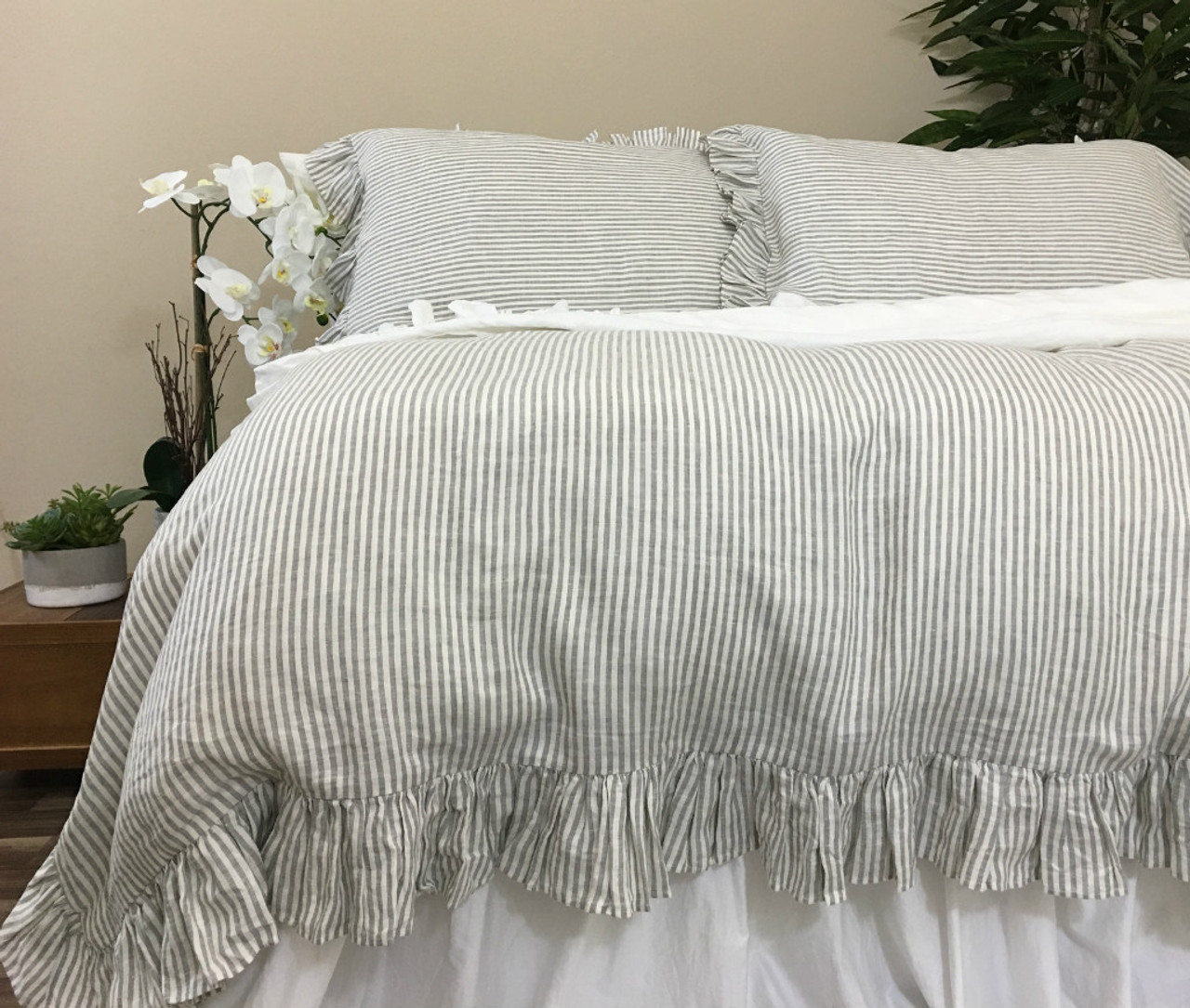 shabby ruffle bedskirt bedding chic cover eyelet duvet dust french white ivory set lace luxury