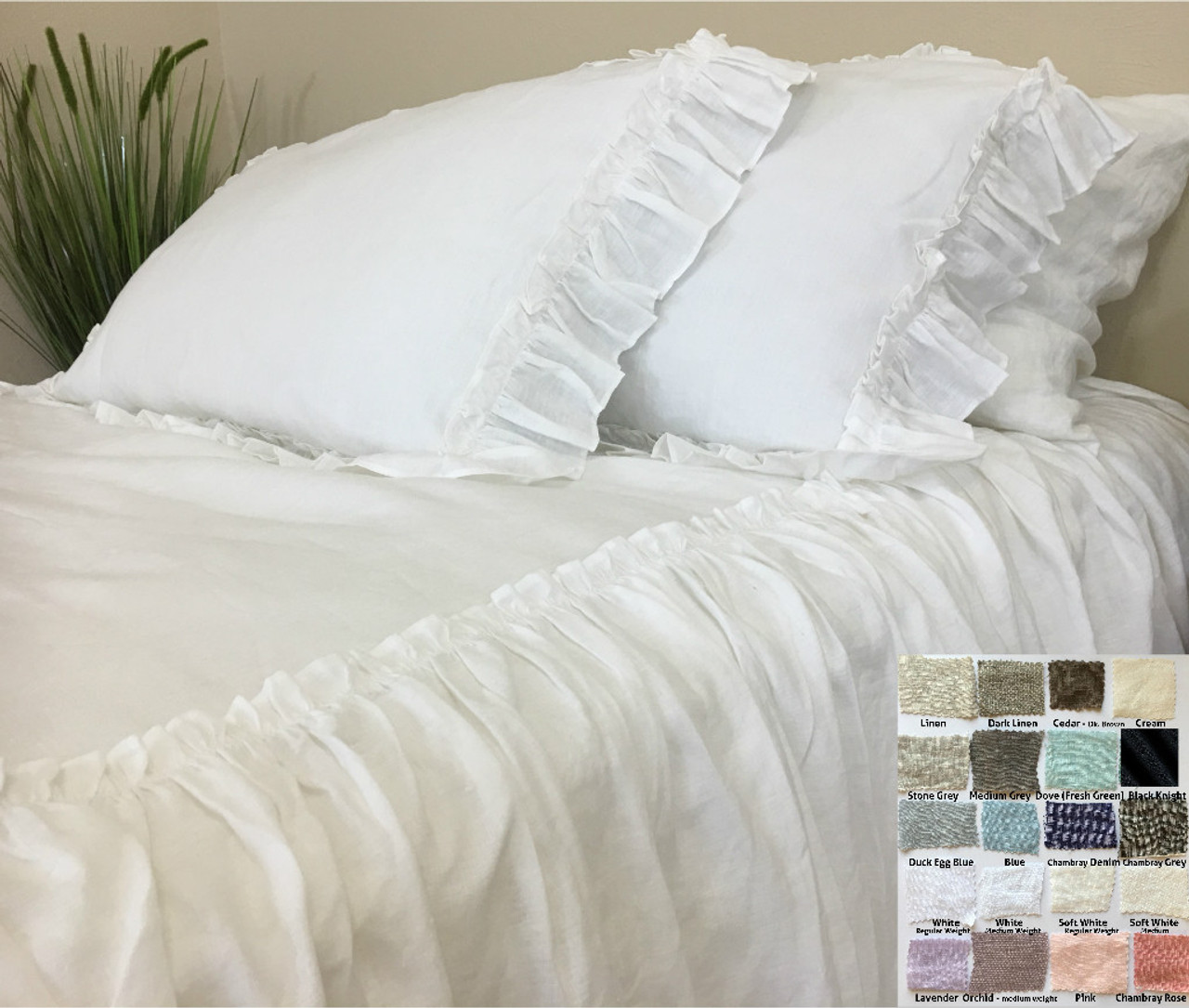 White Linen Bedspread With Ruffles On Top, Fabulous!