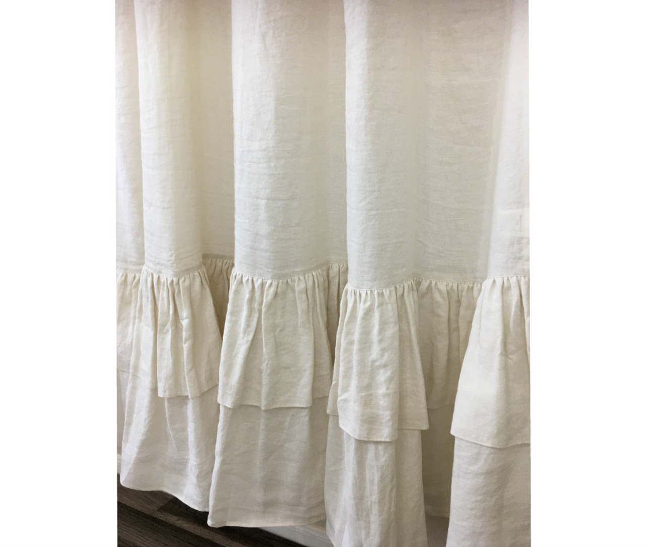 Cream Linen Shower Curtain With 2 Tiered Long Ruffles