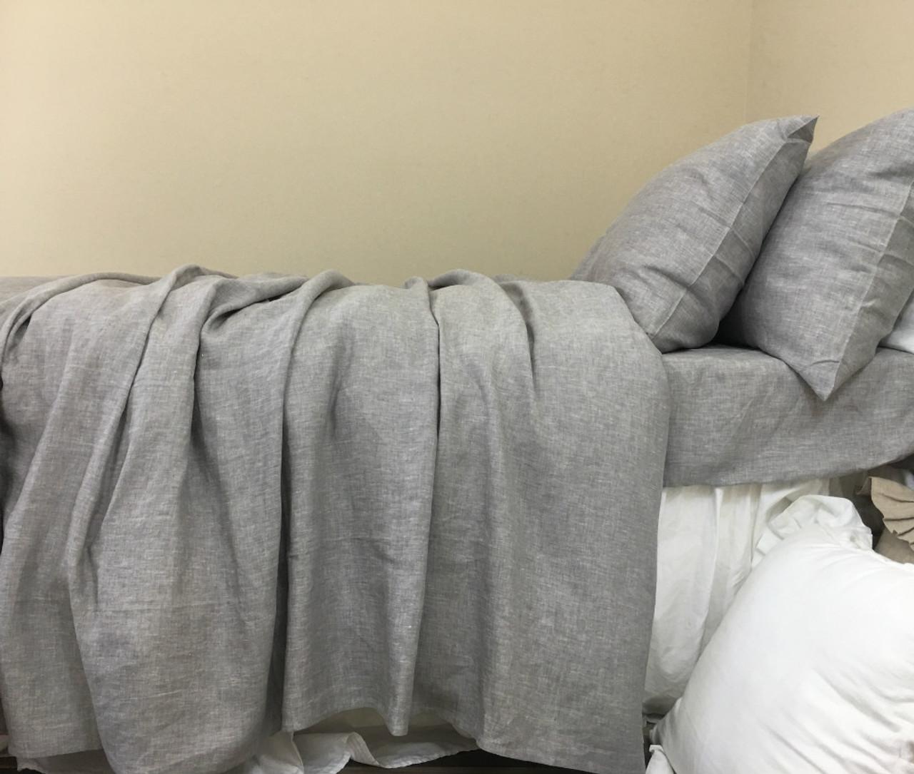 Chambray Graphite Grey Linen Duvet Cover