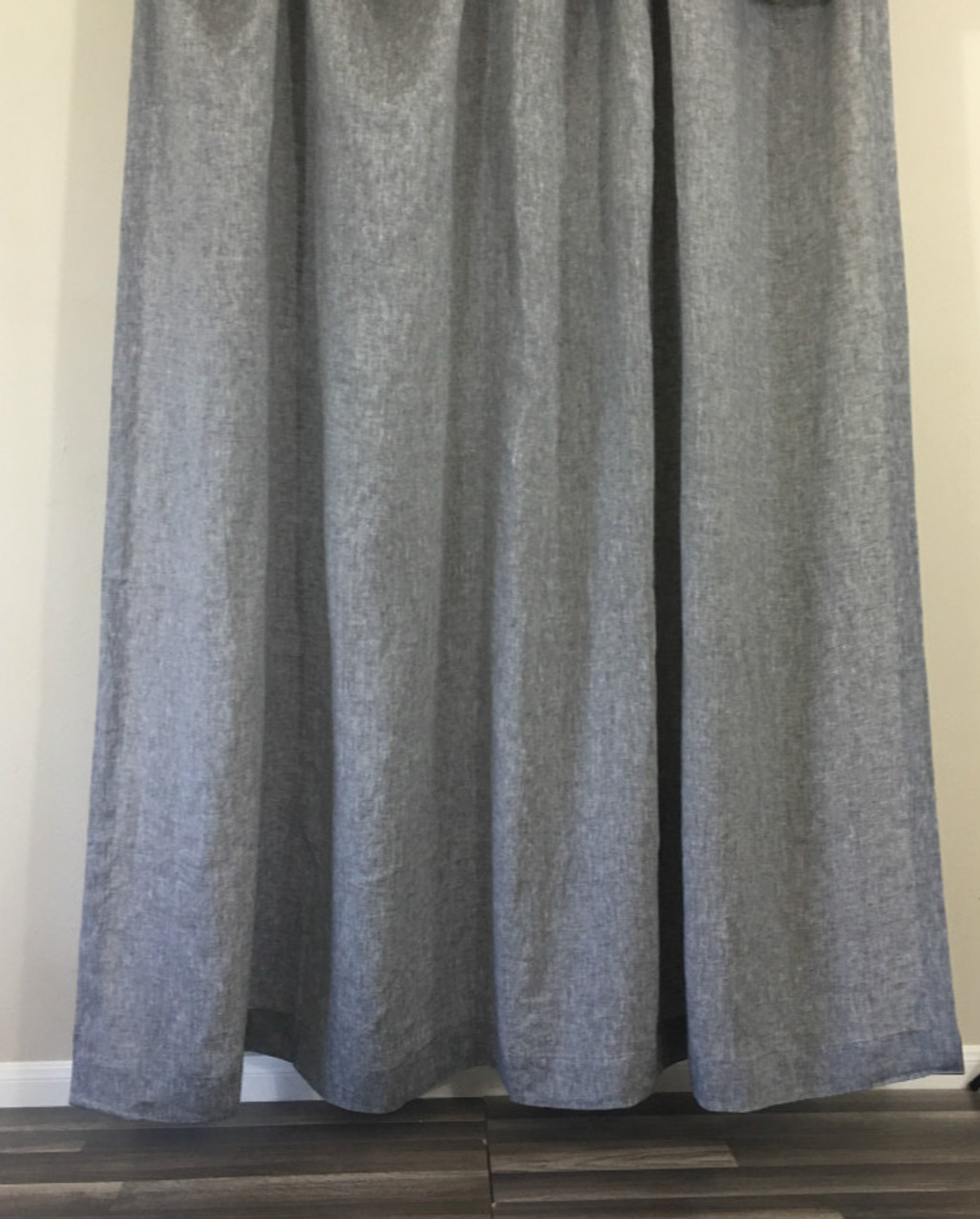 Chambray Grey Linen Shower Curtain Natural Linen - Mildew-Free ...