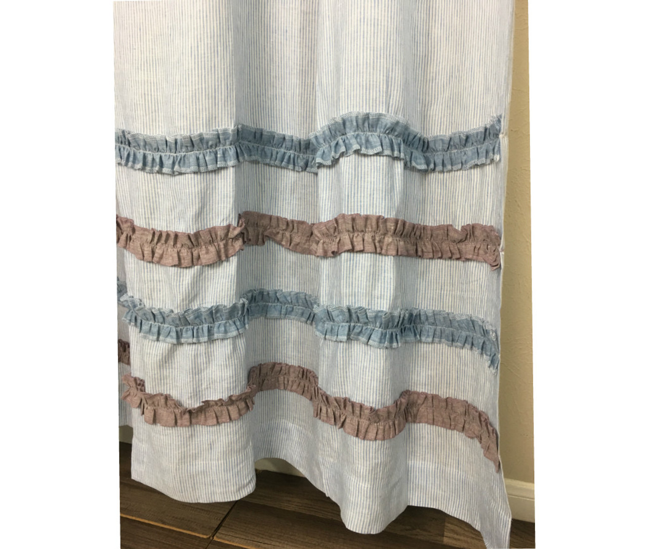 Blue And White Ticking Stripe Shower Curtain With Chambray Surf Blue And  Chambray Raspberry Ruffle Rows