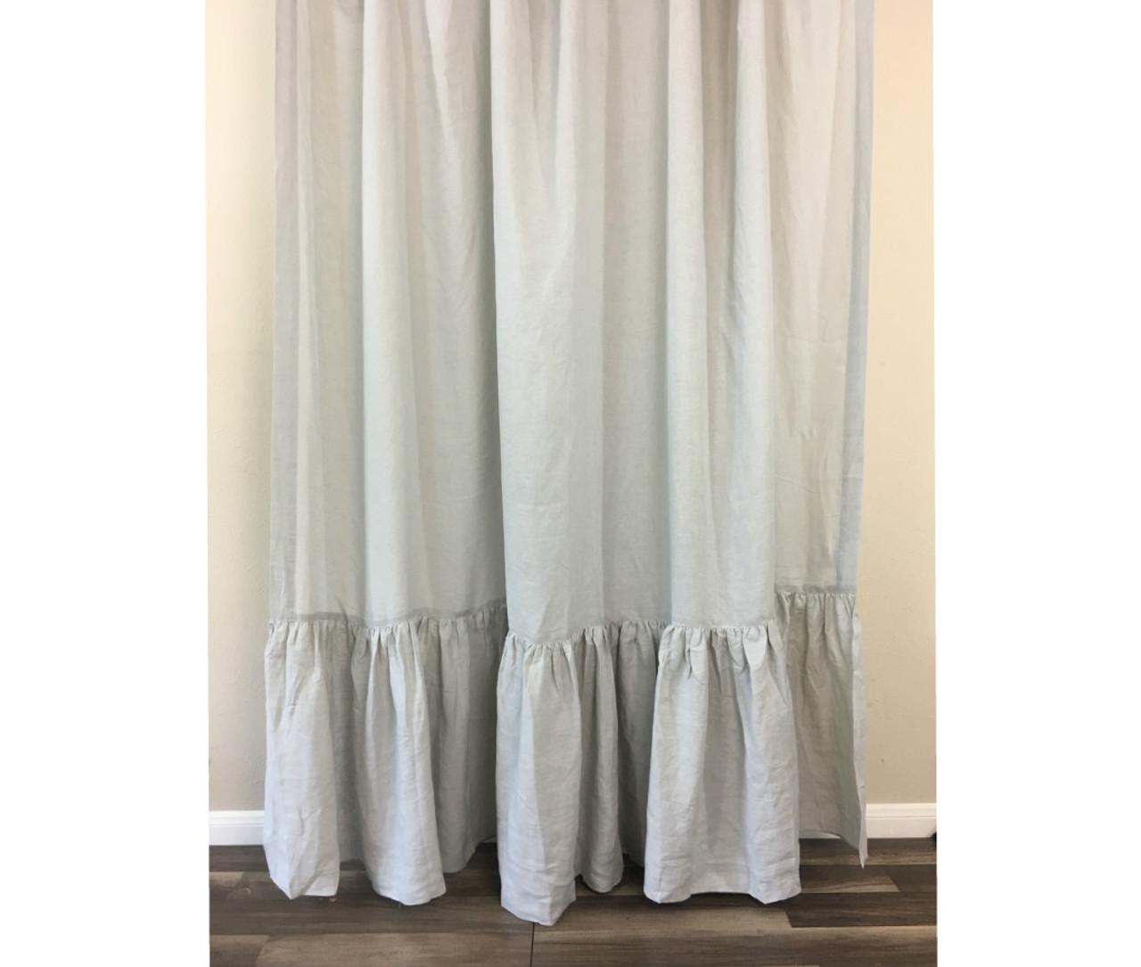 grey linen shower curtain. Stone Grey Linen Shower Curtain with Mermaid Long Ruffles