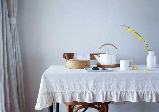 ... White Linen Ruffle Tablecloth ...