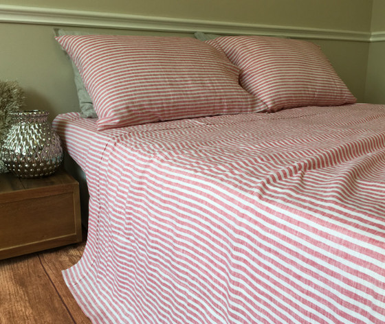 ... Red Ticking Stripe Sheets ...