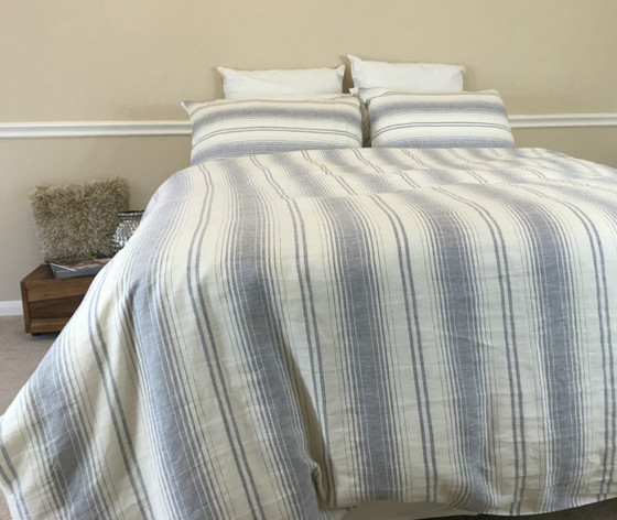 ... Grey Striped Duvet Cover ...