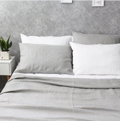 ... Stone Grey Linen Duvet Cover