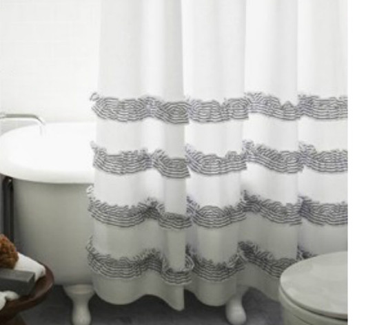 Grey Ticking Stripe Ruffle Shower Curtains | Handcrafted by ...