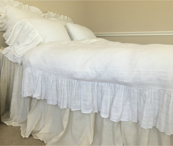 Nice ... Waterfall Ruffle Duvet Cover Handmade In White Linen ...