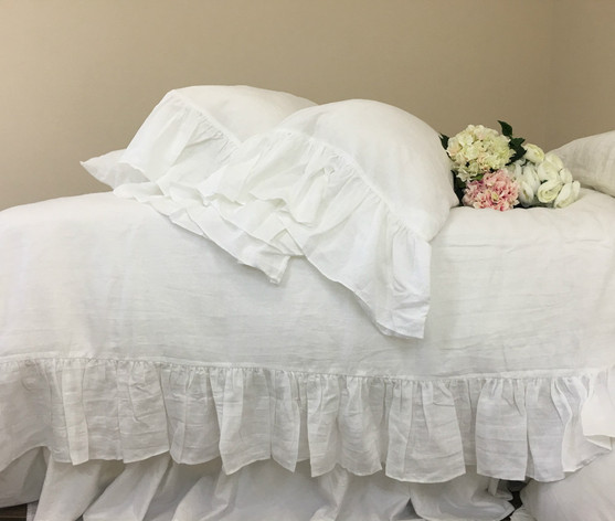 quilt antique stonewashed elegance pure white natural new linen duvet cover
